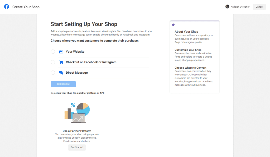 Set up your Facebook Shop by choosing the best option that describes your business.