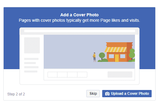 Add a cover photo for your new Facebook business page.