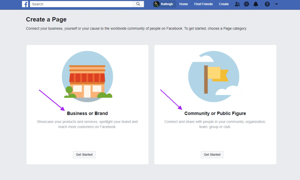 Create a new Facebook business page