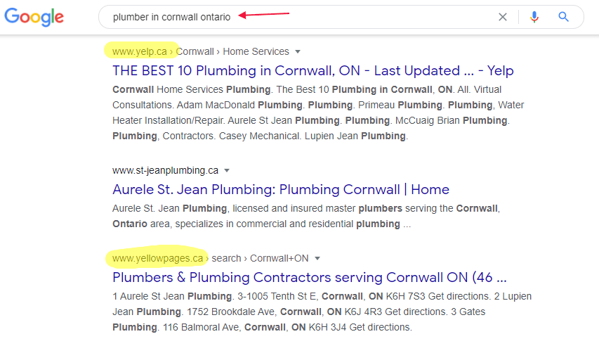 Google search results for plumbers in cornwall ontario shows citations in the top results.